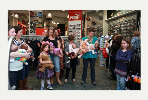 29th April 2014 PHOTO CREDIT SHOULD READ: MATTHEW PAGE Sports Direct Clumber Street, Nottingham.  Mums held a protest at Sports Direct after a woman was asked to leave the shop for breastfeeding her child.